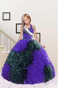 Dark Green and Eggplant Purple Ball Gowns Halter Top Sleeveless Fabric With Rolling Flowers Floor Length Lace Up Beading and Ruffles Little Girls Pageant Dress