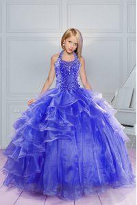 Halter Top Floor Length Blue Little Girl Pageant Dress Organza Sleeveless Beading and Ruffles