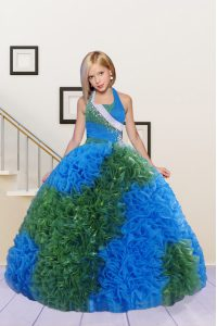 Halter Top Sleeveless Lace Up Little Girls Pageant Gowns Blue and Dark Green Fabric With Rolling Flowers