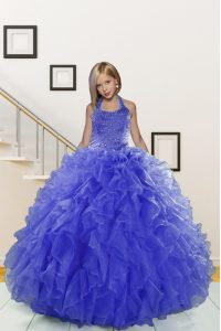 Eye-catching Blue Pageant Gowns For Girls Party and Wedding Party with Beading and Ruffles Halter Top Sleeveless Lace Up