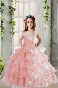 Unique Lace and Ruffled Layers Little Girls Pageant Gowns Baby Pink Lace Up Sleeveless Floor Length