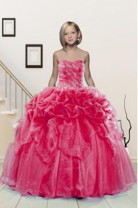 Most Popular Organza Sleeveless Floor Length Little Girls Pageant Gowns and Beading and Pick Ups