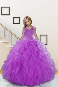 Floor Length Purple Little Girls Pageant Dress Wholesale Halter Top Sleeveless Lace Up