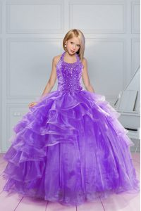 Halter Top Sleeveless Organza Floor Length Lace Up Girls Pageant Dresses in Lavender with Beading and Ruffles