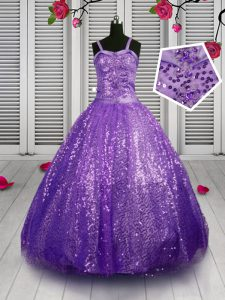 Sequins Floor Length Lavender Pageant Gowns For Girls Straps Sleeveless Lace Up