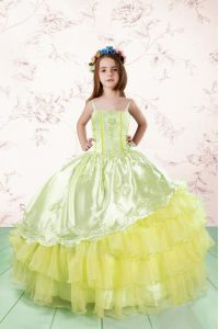 Spaghetti Straps Sleeveless Kids Pageant Dress Floor Length Lace and Ruffled Layers Light Yellow Organza