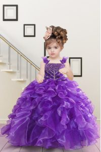 Straps Sleeveless Little Girls Pageant Dress Floor Length Beading and Ruffles Purple Organza