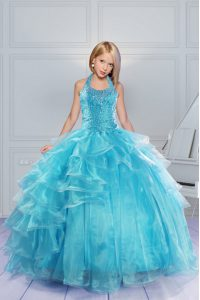 Floor Length Aqua Blue Girls Pageant Dresses Halter Top Sleeveless Lace Up