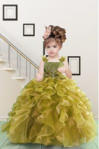 Beauteous Yellow Green Ball Gowns Straps Sleeveless Organza Floor Length Lace Up Beading and Ruffles Pageant Gowns For Girls