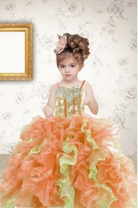 Hot Sale Multi-color Organza Lace Up Spaghetti Straps Sleeveless Floor Length Little Girl Pageant Gowns Beading and Ruffles and Sequins