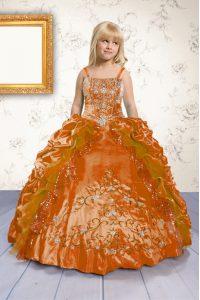 Fantastic Pick Ups Floor Length Orange Little Girls Pageant Dress Spaghetti Straps Sleeveless Lace Up