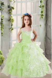 New Style Organza Square Sleeveless Lace Up Lace and Ruffled Layers Little Girls Pageant Gowns in Yellow Green