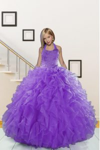 Lavender Organza Lace Up Halter Top Sleeveless Floor Length Kids Formal Wear Beading and Ruffles