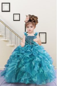 Lovely Sleeveless Lace Up Floor Length Beading and Ruffles Little Girl Pageant Gowns