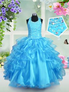 Organza Halter Top Sleeveless Lace Up Beading and Ruffled Layers Girls Pageant Dresses in Aqua Blue