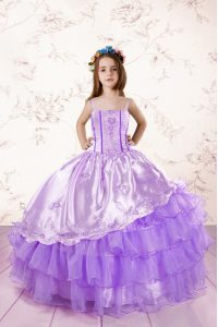 Excellent Ruffled Spaghetti Straps Sleeveless Lace Up Kids Formal Wear Lavender Organza