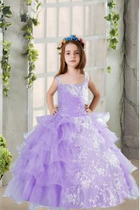 Latest Lavender Sleeveless Beading and Ruffled Layers Floor Length Little Girls Pageant Gowns