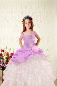 Organza Straps Sleeveless Lace Up Beading and Ruffled Layers and Hand Made Flower Little Girl Pageant Dress in Fuchsia