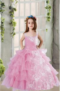 Stylish Organza Square Sleeveless Lace Up Lace and Ruffled Layers Child Pageant Dress in Lilac