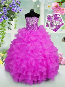 Fashionable Lilac Sleeveless Ruffled Layers and Sequins Floor Length Little Girl Pageant Dress