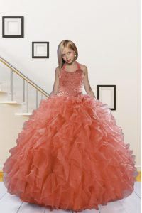 High Quality Organza Halter Top Sleeveless Lace Up Beading and Ruffles Little Girls Pageant Gowns in Watermelon Red