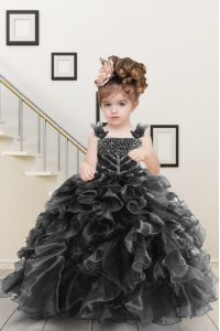 Black Straps Lace Up Beading and Ruffles Little Girls Pageant Dress Sleeveless