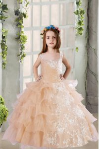 Elegant Ruffled Floor Length Ball Gowns Sleeveless Champagne Pageant Gowns For Girls Zipper
