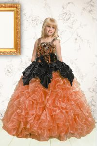 Floor Length Orange Little Girls Pageant Dress Wholesale Organza Sleeveless Beading and Pick Ups