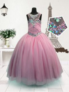 Scoop Sleeveless Little Girls Pageant Gowns Floor Length Beading Pink Organza