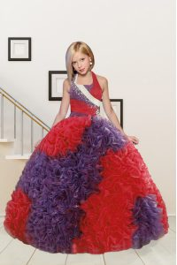 Beautiful Red and Purple Fabric With Rolling Flowers Lace Up Halter Top Sleeveless Floor Length Pageant Gowns For Girls Beading and Ruffles