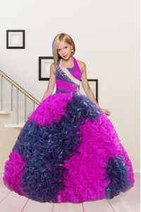 Elegant Halter Top Floor Length Ball Gowns Sleeveless Hot Pink Little Girl Pageant Gowns Lace Up
