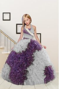 Custom Made Halter Top White And Purple Sleeveless Beading and Ruffles Floor Length Kids Formal Wear