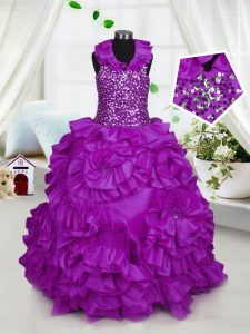 Halter Top Sleeveless Beading Zipper Kids Pageant Dress