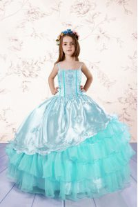 Stylish Embroidery and Ruffled Layers Child Pageant Dress Turquoise Lace Up Sleeveless Floor Length