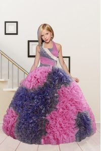 Adorable Halter Top Sleeveless Floor Length Beading and Ruffles Lace Up Kids Pageant Dress with Pink and Dark Purple