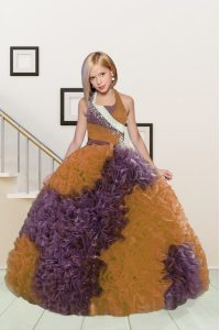 Hot Selling Halter Top Sleeveless Fabric With Rolling Flowers Floor Length Lace Up Pageant Gowns For Girls in Purple and Orange with Beading and Ruffles