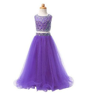 Scoop Sleeveless Girls Pageant Dresses Floor Length Beading Lavender Organza
