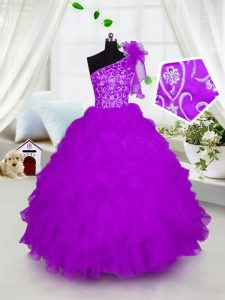 One Shoulder Short Sleeves Floor Length Appliques and Ruffles Lace Up Little Girl Pageant Dress with Fuchsia