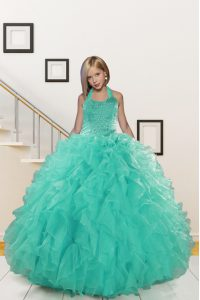 Halter Top Floor Length Turquoise Kids Pageant Dress Organza Sleeveless Beading and Ruffles
