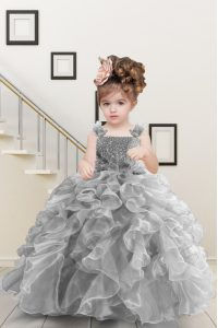 Admirable Grey Pageant Gowns For Girls Military Ball and Sweet 16 and Quinceanera with Beading and Ruffles Straps Sleeveless Lace Up