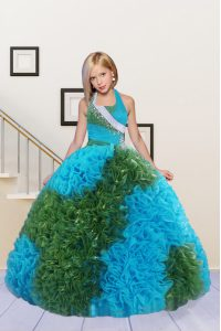 Low Price Halter Top Sleeveless Beading and Ruffles Lace Up Little Girls Pageant Dress Wholesale