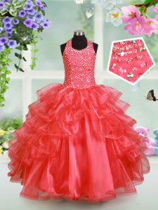 Halter Top Watermelon Red Sleeveless Floor Length Beading and Ruffled Layers Lace Up Kids Pageant Dress