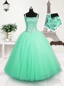 Perfect Turquoise Lace Up Straps Beading and Sequins Little Girl Pageant Dress Tulle Sleeveless