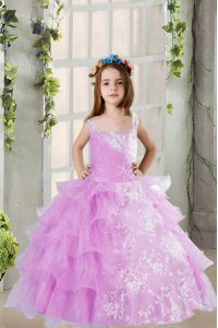 On Sale Ruffled Lavender Sleeveless Organza Lace Up Child Pageant Dress for Party and Wedding Party