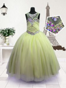 Apple Green Scoop Zipper Beading Little Girls Pageant Dress Wholesale Sleeveless
