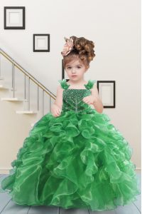 Green Sleeveless Beading and Ruffles Floor Length Little Girls Pageant Gowns