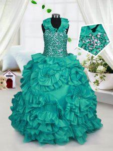Perfect Turquoise Zipper Halter Top Beading and Ruffles Little Girl Pageant Dress Taffeta Sleeveless