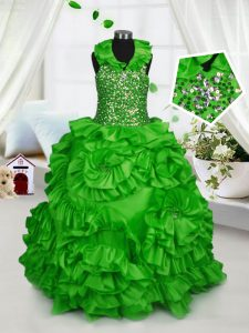 Affordable Halter Top Sleeveless Taffeta Floor Length Zipper Little Girl Pageant Dress in with Beading and Ruffles