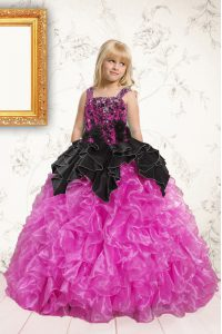 Graceful Black and Hot Pink Sleeveless Organza Lace Up Little Girls Pageant Gowns for Party and Wedding Party