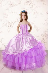 Fancy Organza Spaghetti Straps Sleeveless Lace Up Embroidery and Ruffled Layers Kids Pageant Dress in Fuchsia